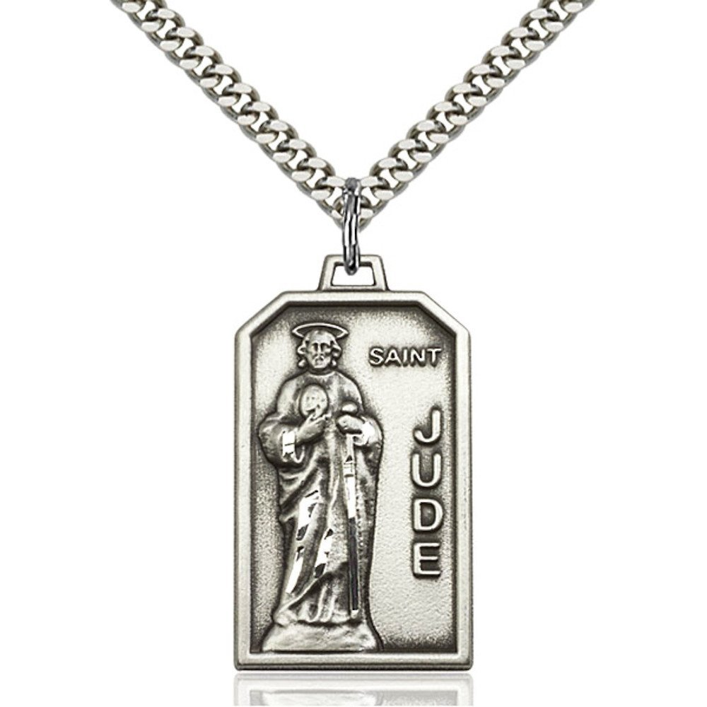 Sterling Silver St. Jude Pendant 1 1/8 x 5/8 inches with Heavy Curb Chain Bliss Manufacturing 5725SS/24S