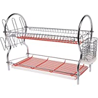 Flamingo 2-layer Chrome Plated Q-shape Dish Rack, Red Fl1302dr-2l