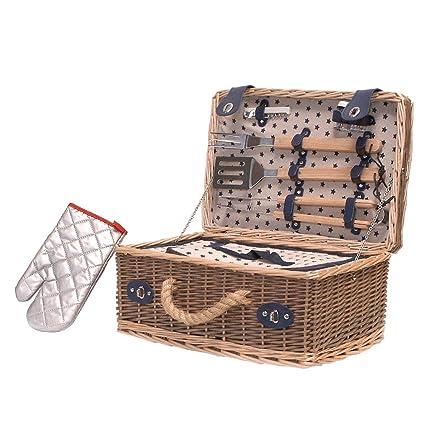 Diseño de barbacoa de mimbre cesta de Picnic integrado y barbacoa con diseño tradicional para 4