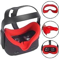 Carplink Silicone Masque De VR pour Oculus Quest Casque de réalité virtuelle All-in-One Coussin De Couverture De Visage Housse Rouge