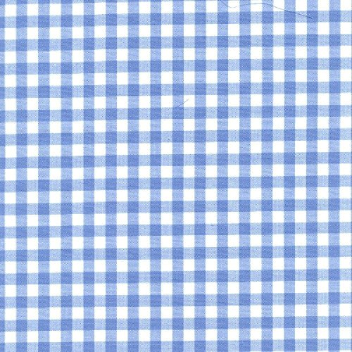 Blue Gingham Fabric (Gingham 1/4 Checkered Poly Cotton Fabric Prints - 59/60