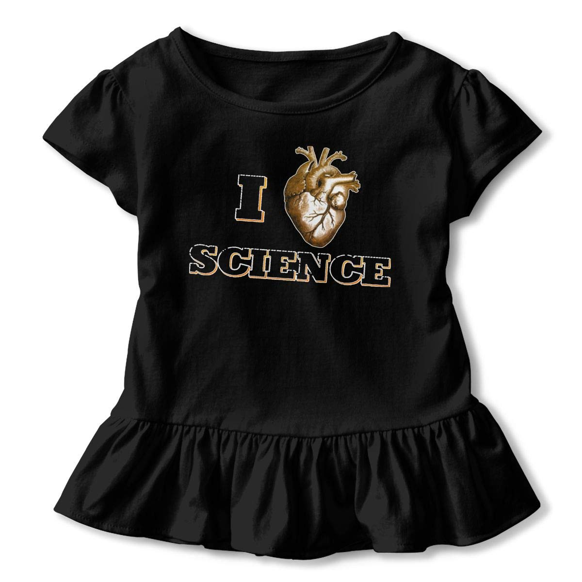 Funny I Love Science Toddler Girls T Shirt Kids Cotton Short Sleeve Ruffle Tee