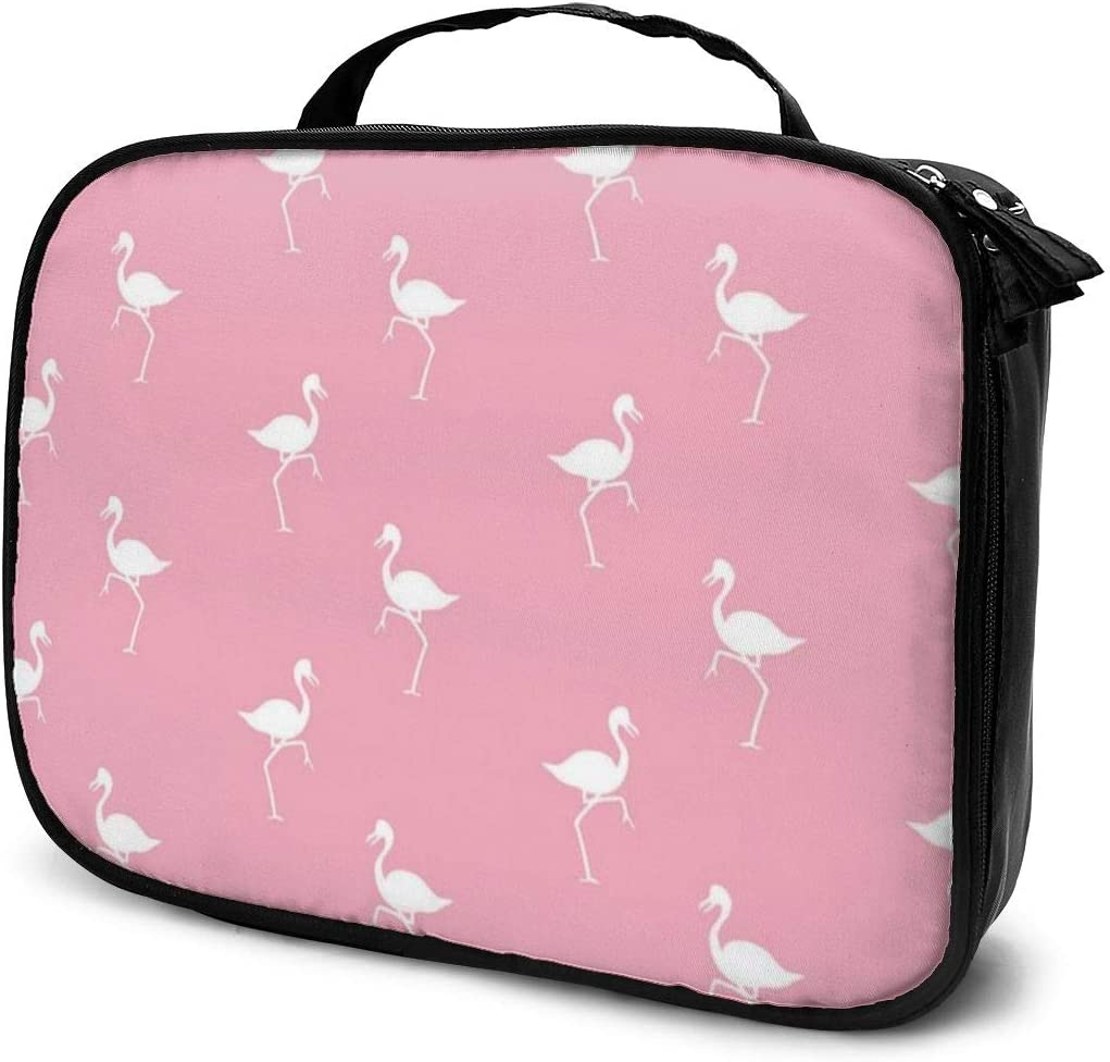 YongColer Pink Flamingos Pattern Makeup Cosmetic Case Pouch Portable Gift for Girls Women Large Capacity Travel Makeup Train Case for Toiletry Digital Accessories Lazy Travel Bag