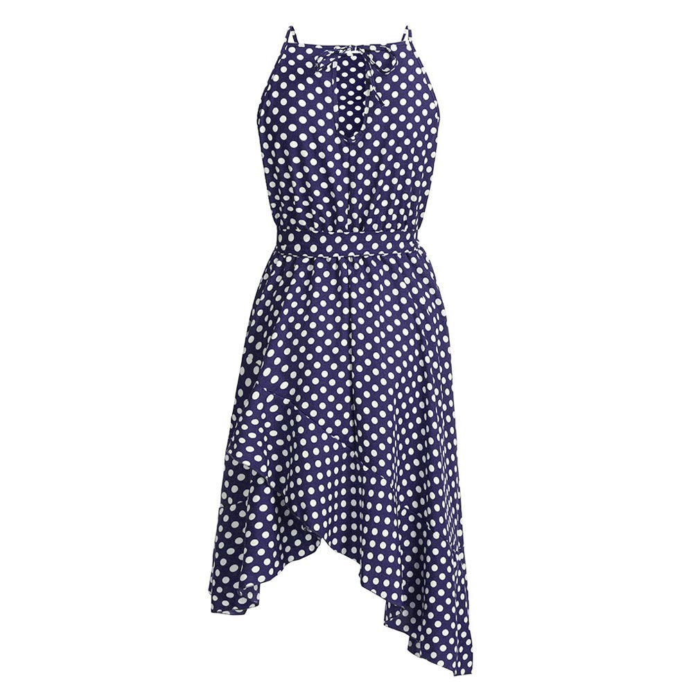 Winsummer Women's Vintage 1950s Polka Dot Audrey Hepburn Dress 50s Retro Swing Dresses Belt Blue