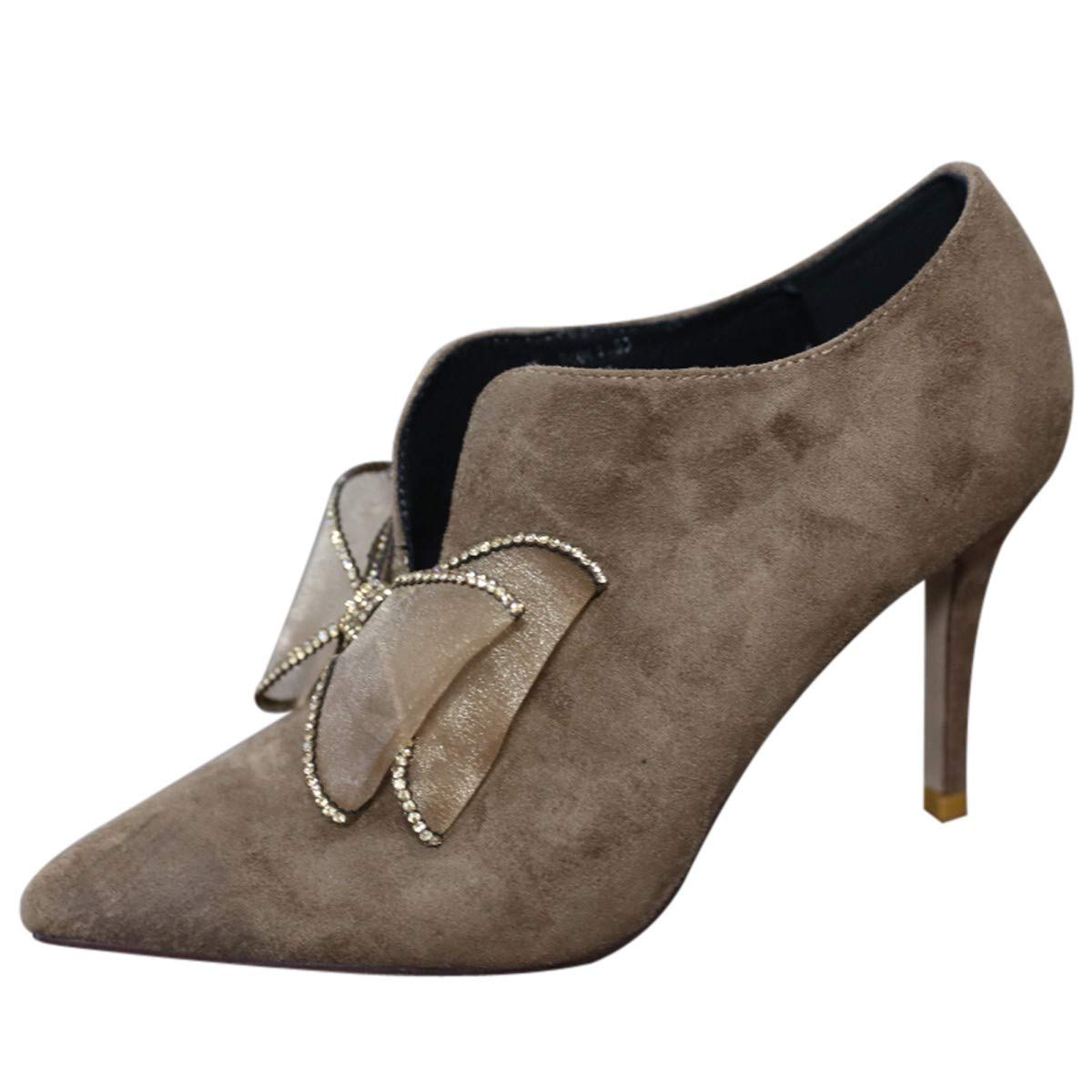 LBTSQ-Spitz Nackt Stiefel Fliege 8Cm Dünne Dünne Dünne Sohle Hochhackigen Schuhe Kurze Stiefel Wildleder Einzelne Schuhe Mode-Joker. e1db35