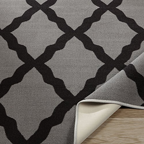 "Ottomanson Glamour Collection Non-Slip Moroccan Trellis Design Runner Rug, 2'2"" x 6', Dark Grey"