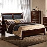 Roundhill Furniture Emily 111 Contemporary Wood and Bonded Leather Panel Bed, Queen, Merlot