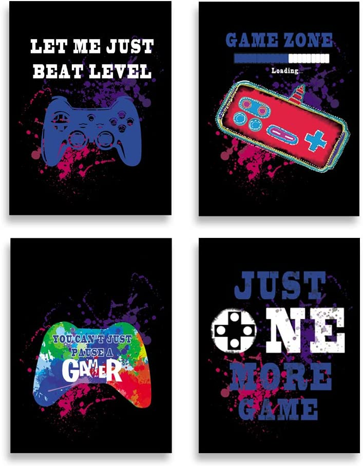 """SHIKAIA Unframed Video Game Art Print, Watercolor Game Theme Canvas Poster, Gaming Quote Art Printing(8""""x10""""- 4 Pieces), Funny Gamer Wall Art Picture For Boys Bedroom Kids Playroom Decor"""