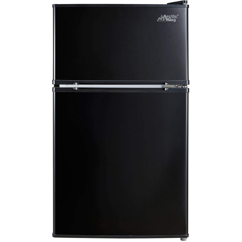 Arctic King - [ATMP032AEB] 3.2 Cubic Feet Two Door Mini Refrigerator with Freezer, Black