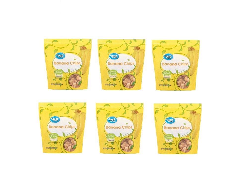 Great Value All Natural Banana Chips, 12 oz (Pack of 6)