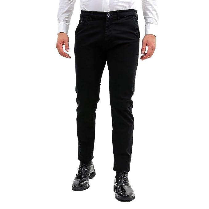 Nero Tasca Uomo Slim Pantaloni Elegante Stretti America Classico Fit w1YT16xXq