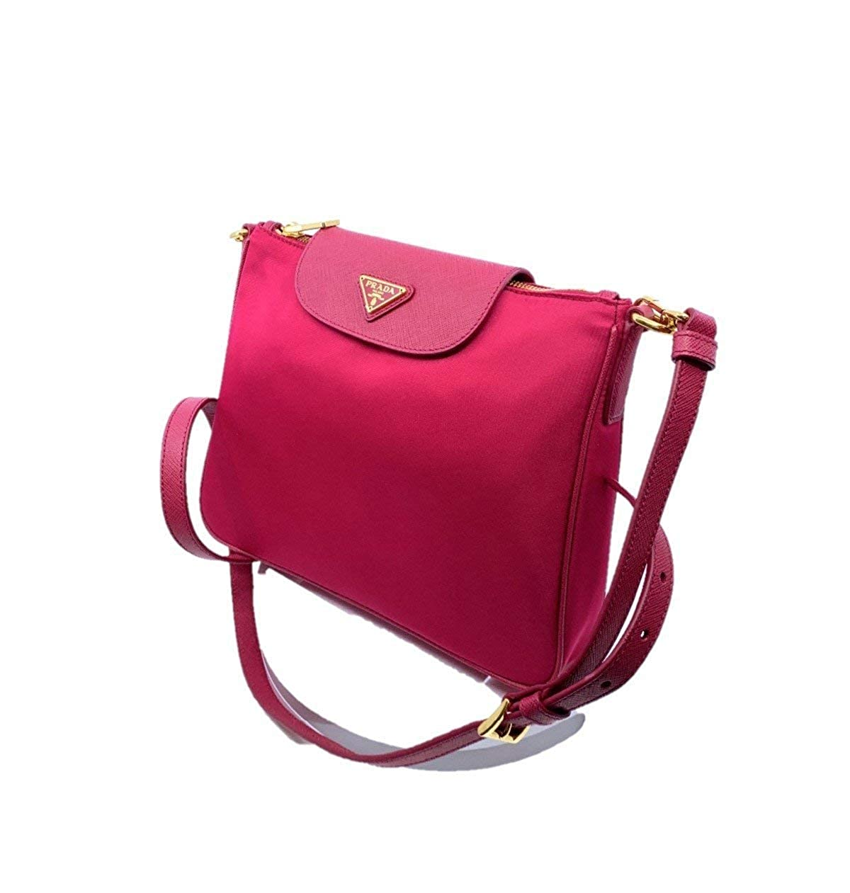 f82900e836 Prada Women's Tessuto Saffiano Pink Ibisco Nylon Crossbody Bag Handbag  1BH933: Handbags: Amazon.com