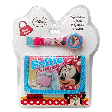Kids Euroswan Set Regalo con Reloj Digital y Billetera Modelo Minnie Mouse, Compuesto, 25x7x20