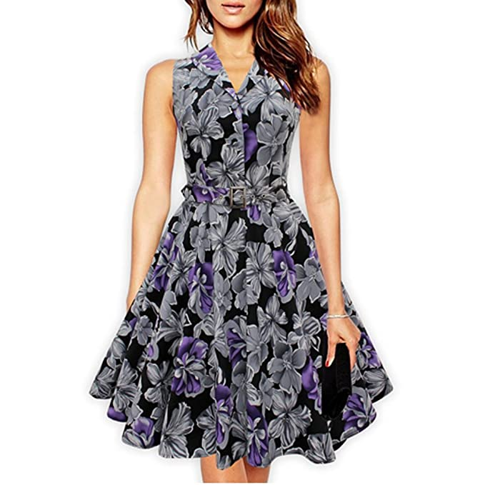 Womens 50s 60s Retro Vintage Dress Rose Floral Print Rockabilly Swing Feminine Vestidos Party Audrey Dress With Belt at Amazon Womens Clothing store: