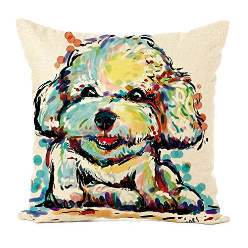 Easternproject Cute Pet Dog Painting Cotton Linen Throw Pillow Case Cushion Cover Square Animal Pillow Covers Home Decor 18 x 18 Inch (4# Poodle) ()
