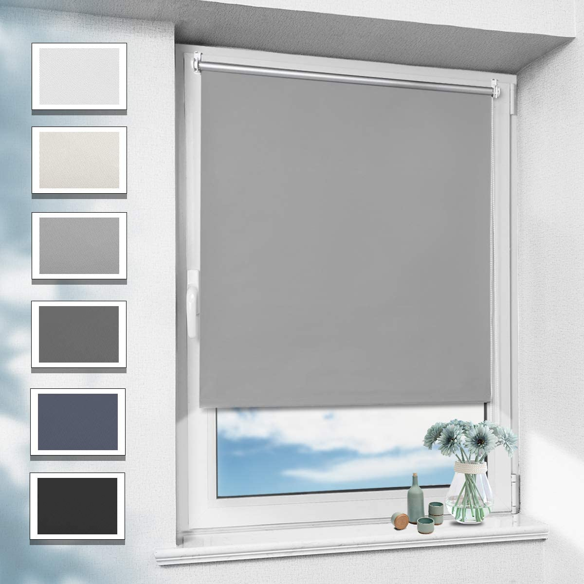 OUBO Blackout Roller Blind 70 x 170 cm Gray Shade Opaque Thermal Insulation Ajustable Easy Fix Without Drilling: Amazon.es: Hogar