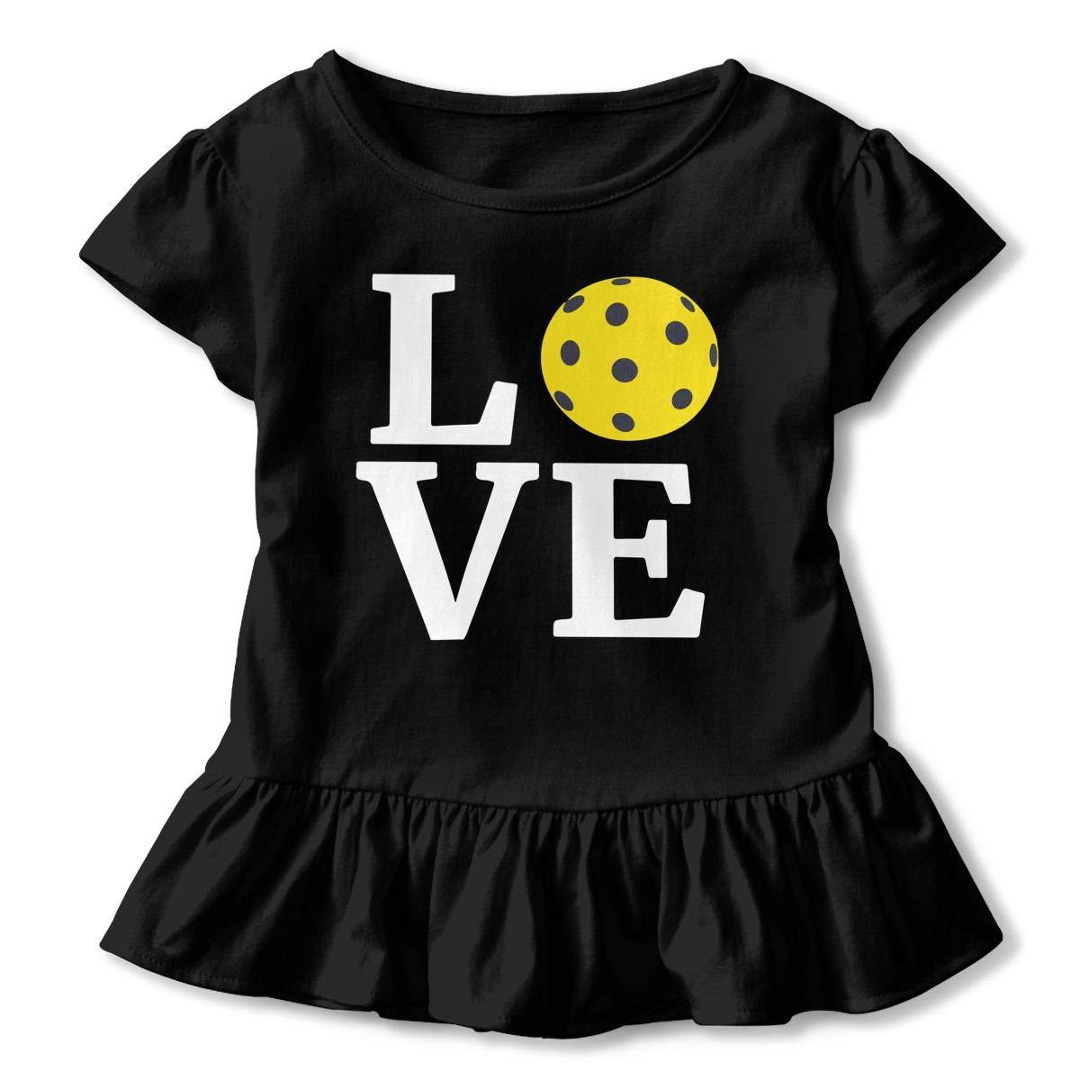 Love Pickleball T-Shirts Toddler//Infant Girls Short Sleeve Ruffles Shirt T-Shirt for 2-6T