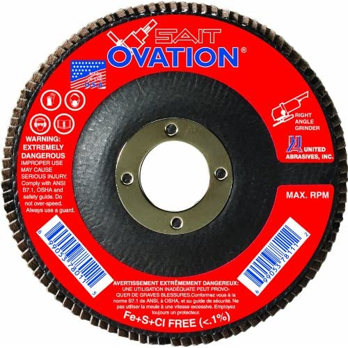 Image of Home Improvements United Abrasives- SAIT 78138 Ovation Flap Disc, 6-Inch by 5/8-11-Inch, 60 Grit, 10-Pack
