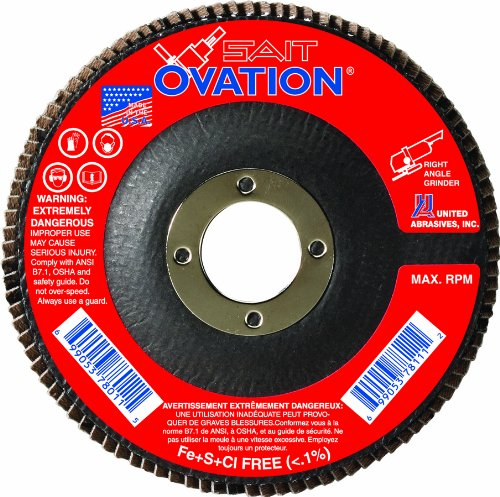 SAIT 78025 Ovation Flap Disc, 5-Inch by 7/8-Inch, 36 Grit, 10-Pack by United Abrasives, Inc.