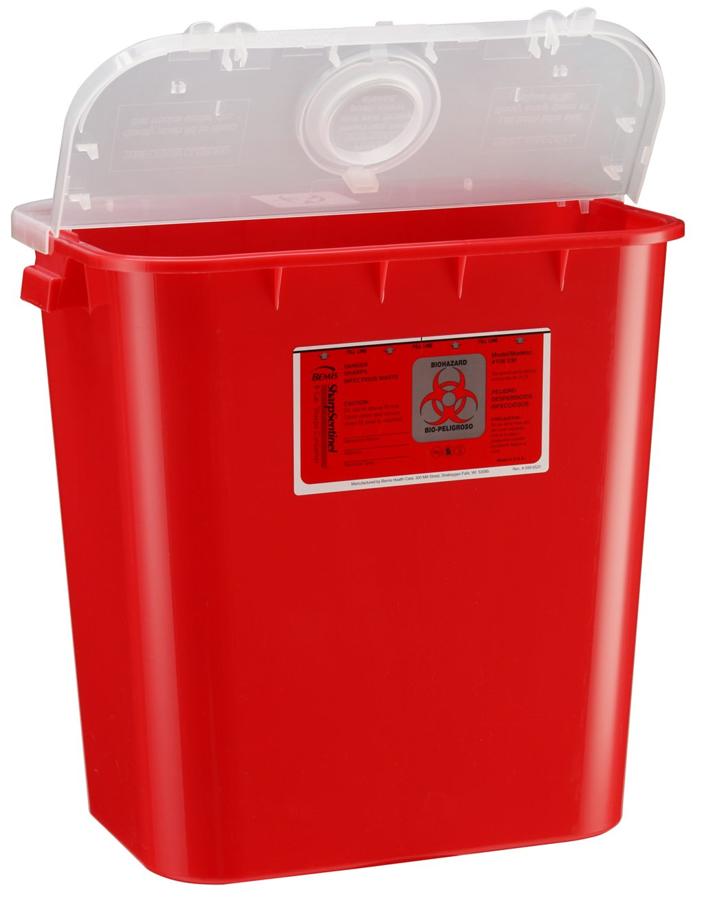 Bemis Healthcare 108030-10 8 gal Sharps Container, Red (Pack of 10)