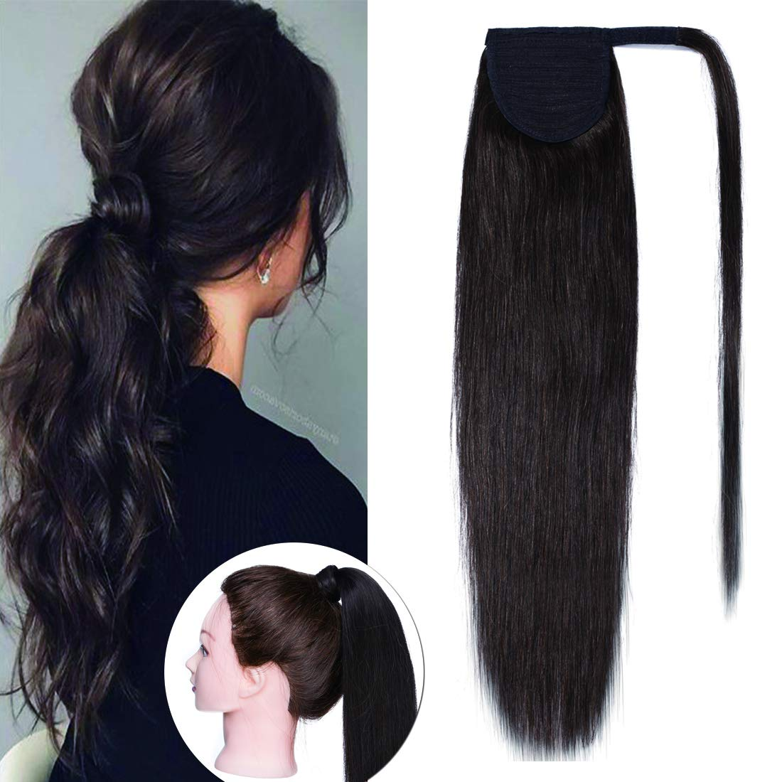 SEGO Wrap Around Ponytail Hair Extensions Human Hair Long Straight 100% Real Remy Hair Pony Tails Hair Extensions For Women #02 Dark Brown 14 inches 70g by SEGO