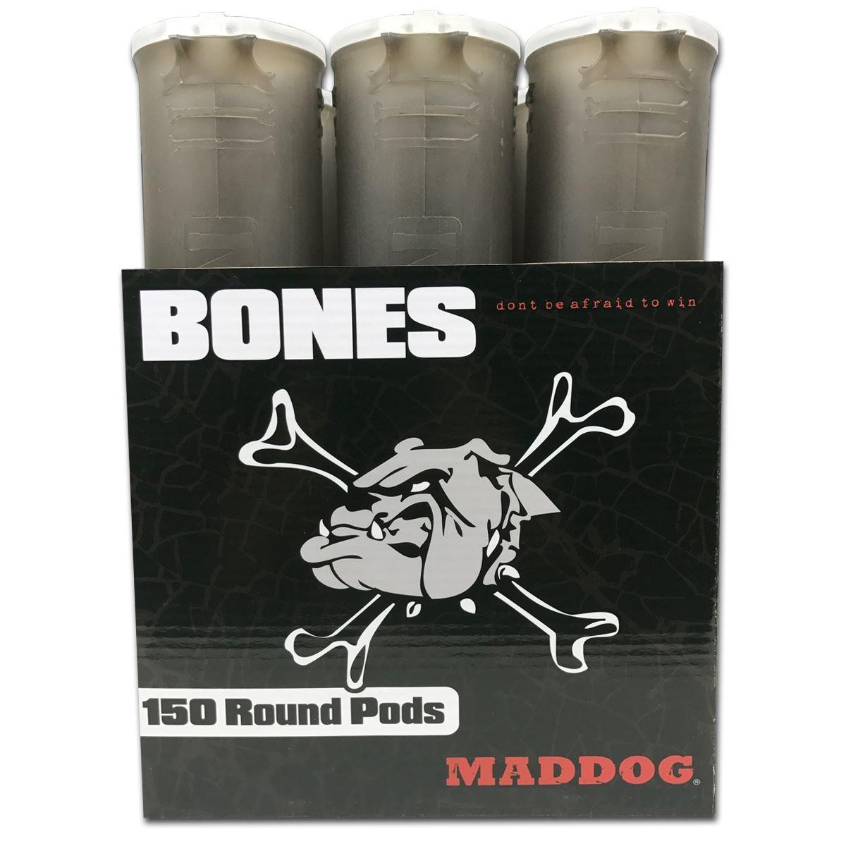 MAddog 150 Round BONES Paintball Pod - Smoke - 48 Pack by MAddog