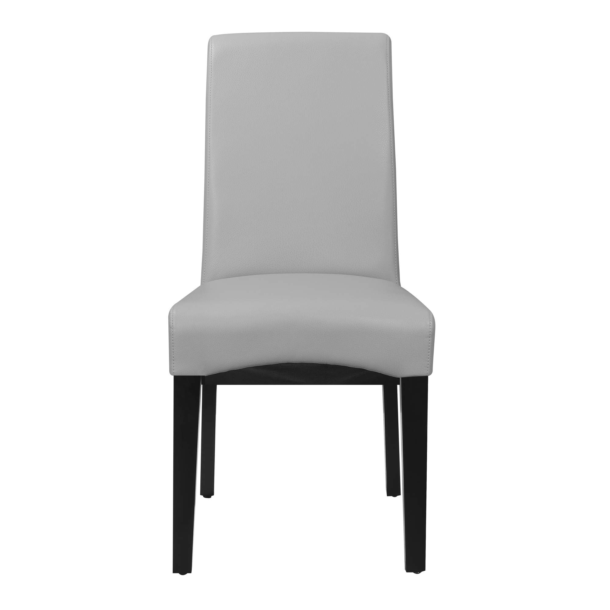 Livingston II Upholstered Dining Chair in Soft Gray with Faux Leather Upholstery And Curved Back, Set of Two, by Artum Hill by Artum Hill (Image #3)