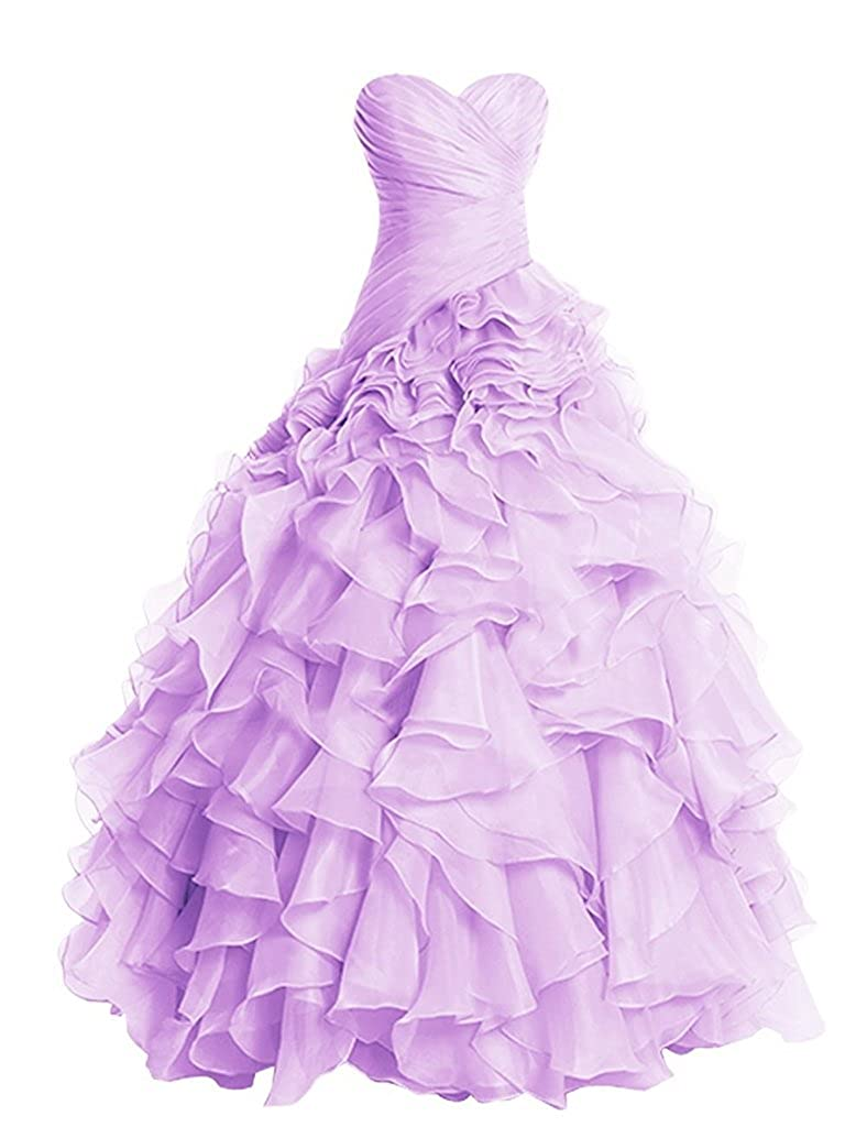 Lavender APXPF Women's Long Ruffly Organza Formal Prom Dress Wedding Party Ball Gown