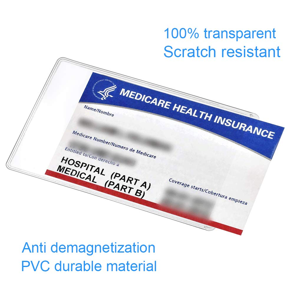 6 Pack Medicare Card Holder Protector Sleeves 12mil Clear Pvc Soft