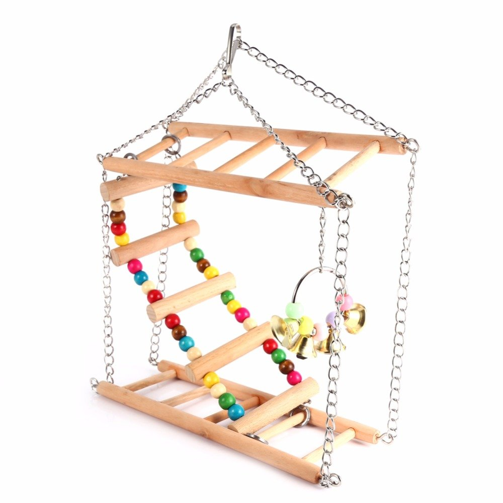 Hamiledyi Bird Swing For Parrot Parakeet Budgie Cockatiel Climbing Ladder Swinging Wood Hanging Toy Bird Toy Ladder Wooden Bridge Swings for Parrots Wooden Suspension Bridge by Hamiledyi (Image #5)