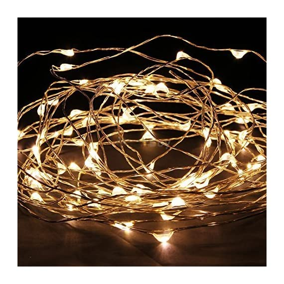 100 LED Fairy Lights 32 Ft Firefly String Lights Waterproof Starry Lights on Silver Coated Copper Wire Perfect for Christmas Party DIY Wedding Bedroom Indoor Party Decorations Warm White - Warm White Color Super Bright LED Lights on Super Thin String Silver Wire 30 Ft Long String Wire and 5 Ft Long Cable Connecting Wire with Transformer !!! AC to DC Transformer (Included) - patio, outdoor-lights, outdoor-decor - 61gaCUced4L. SS570  -