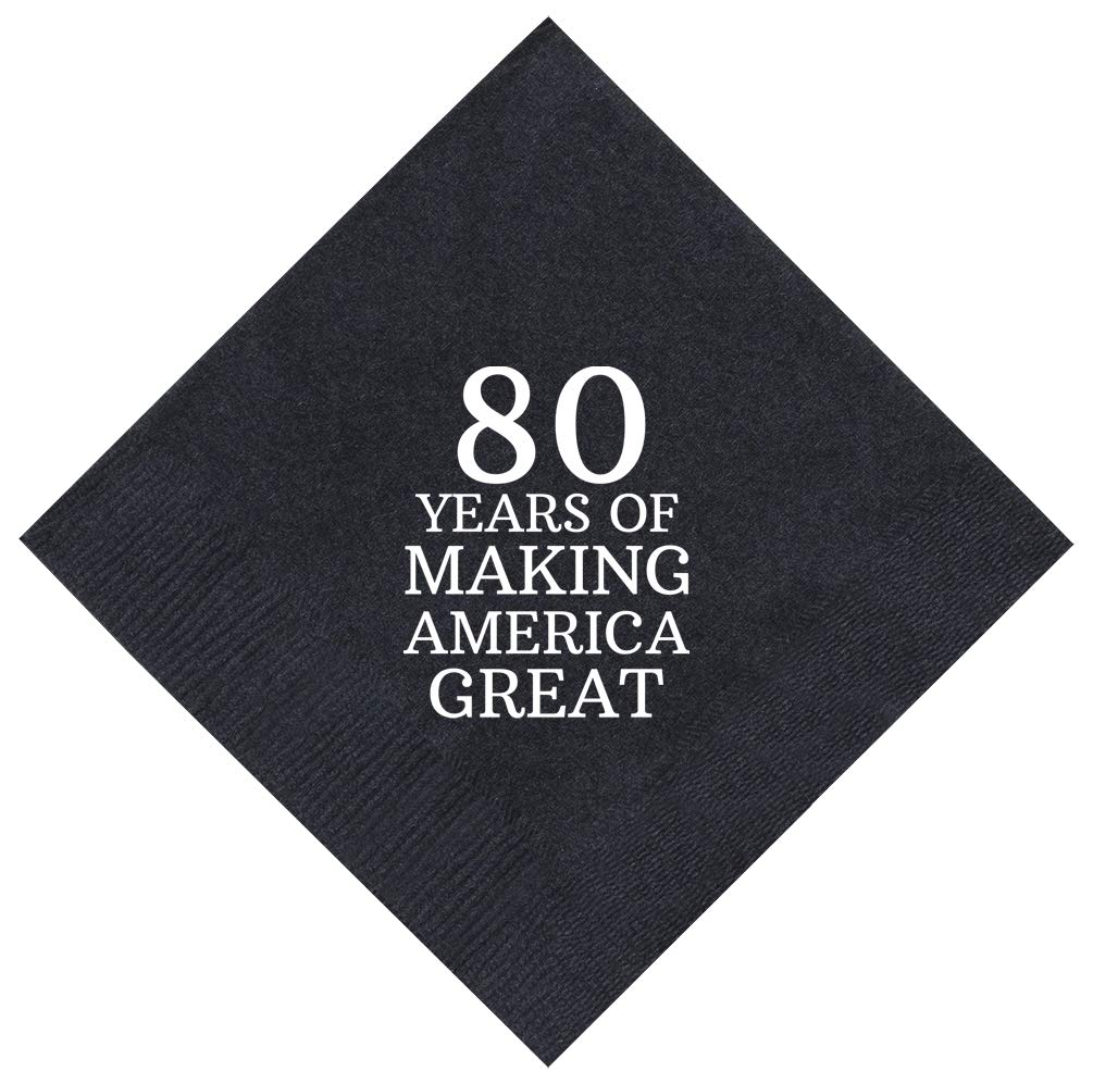 80th Birthday Party 80 Years Making America Great 50 Pack 5x5'' Party Napkins Cocktail Napkins Black