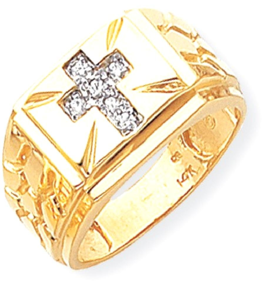 ICE CARATS 14k Yellow Gold Diamond Mens Band Ring Size 10.00 Man Religious Fine Jewelry Dad Mens Gift Set