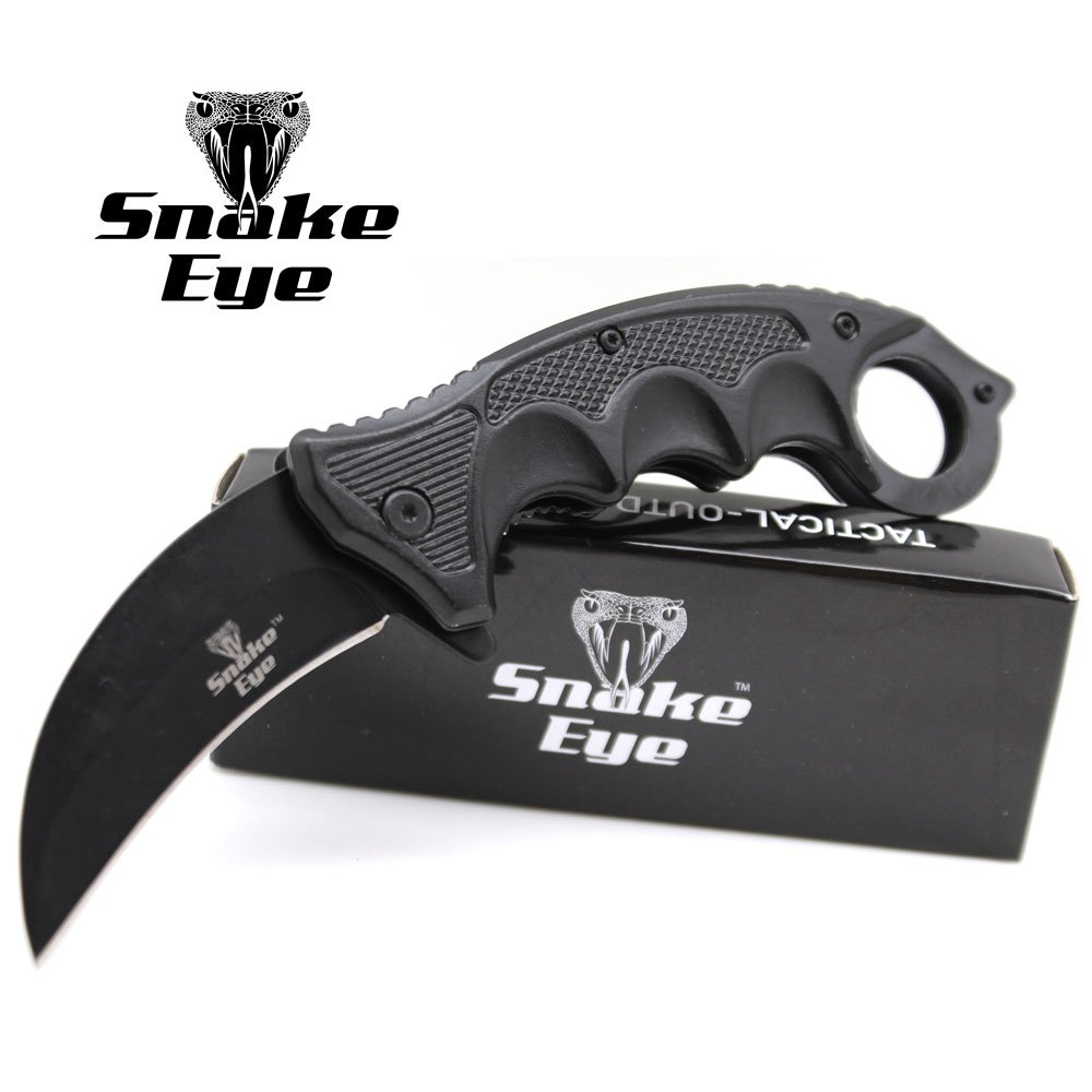 Snake Eye Tactical Heavy Duty Blade Karambit Folding Pocket Knife Outdoors Hunting Camping