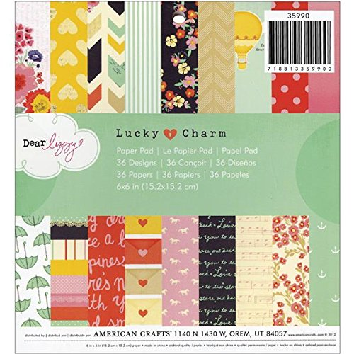 Cute 6x6 inch Patterned Paper Pad for Crafting with 36 Dear Lizzy Lucky Charm Designs by American Crafts. Ideal for Cardmaking -