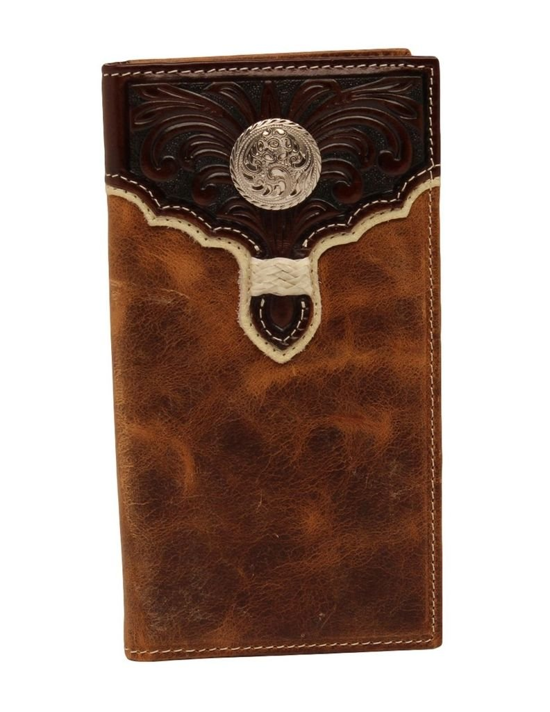 Nocona Men's Rodeo Two Tone Embossed Scroll Design Wallet, Brown, Light Brown, OS