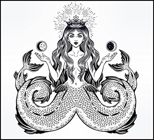 Abstract Pretty Beautiful Mystical Magical Queen Mermaid With Two Tails Cartoon #1 - Black And White Vinyl Decal Sticker (4