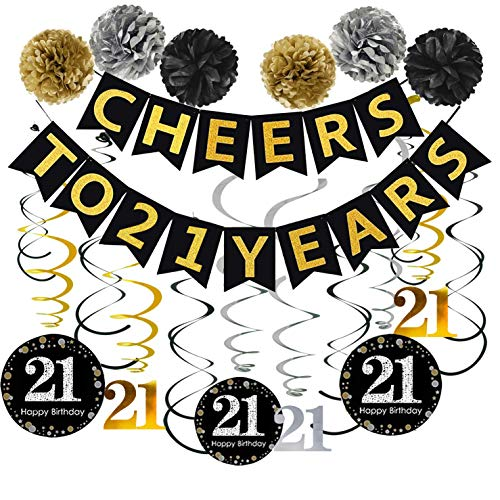 21th Birthday Party Decorations KIT - Cheers to 21 Years Banner, Sparkling Celebration 21 Hanging Swirls, Poms, Perfect 21 Years Old Party Supplies