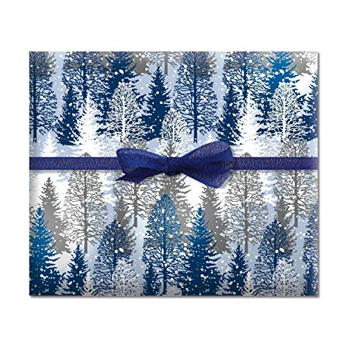 Snowy Trees Jumbo Rolled Gift Wrap - 1 Giant Roll, 23 Inches Wide by 35 feet Long, Heavyweight, Tear-Resistant, Holiday Wrapping Paper