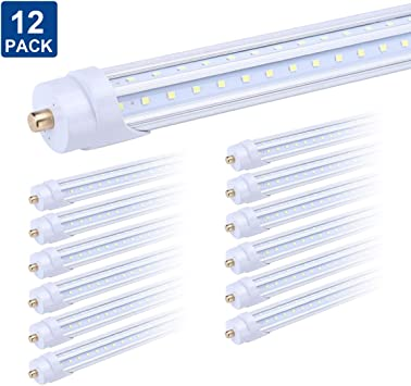 AC 85-277V 4Pack R17d V Shaped Rotatable HO Base 8 Foot led Bulbs Double Row,65W,150W Fluorescent Lamp Replacement Shop Lights 7800LM,Clear Cover Dual-Ended Power Cold White 6000K