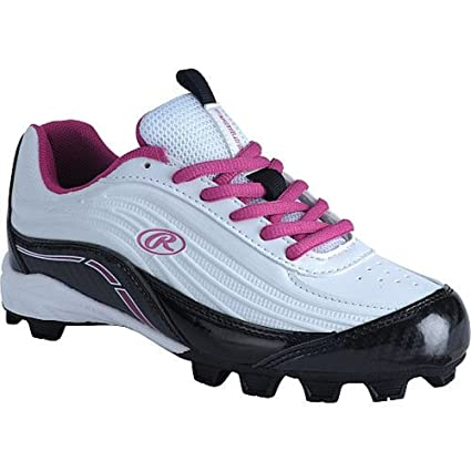 da2b3f0f690a Amazon.com: Rawlings Girls' Motion Low Softball Cleats White Pink 5 ...