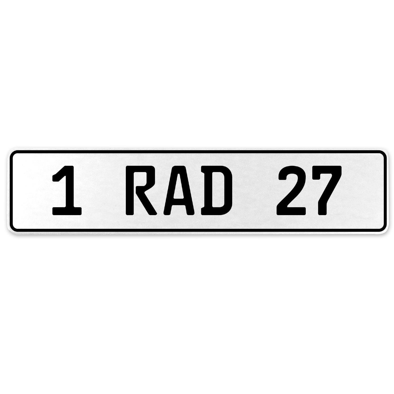 Vintage Parts 554030 1 RAD 27 White Stamped Aluminum European License Plate
