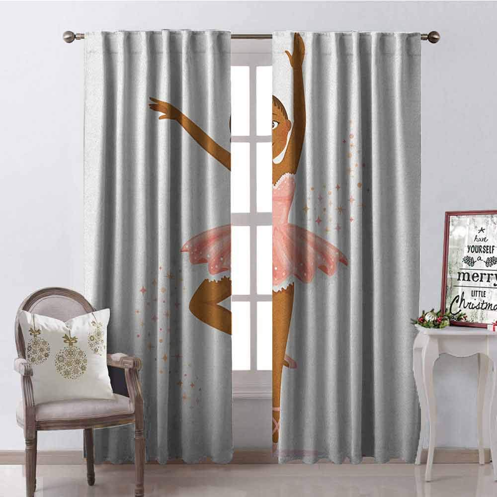 GloriaJohnson Girls Heat Insulation Curtain Ballerina Dancing Daughter Classic Performance Hobby Birthday Kids Baby Theme for Living Room or Bedroom W42 x L63 Inch Rose and Brown by GloriaJohnson (Image #1)