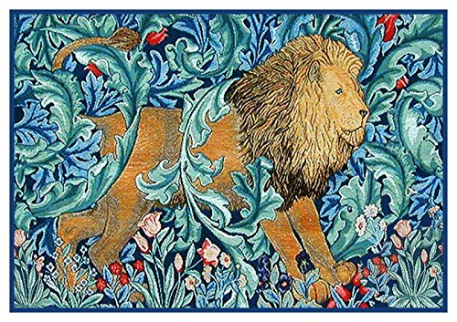 Orenco Originals Arts Crafts Lion in Blue Hues William Morris Design Counted Cross Stitch Pattern