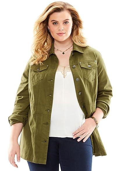 Roamans Women's Plus Size Long Jean Jacket at Amazon Women's Coats ...