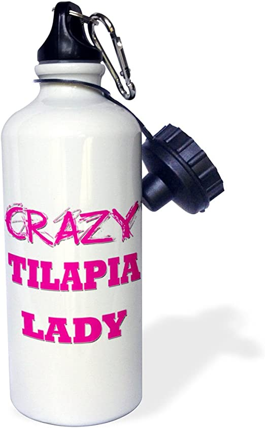Multicolored 3dRose Crazy Tilapia Lady-Sports Water Bottle wb/_175312/_1 21oz