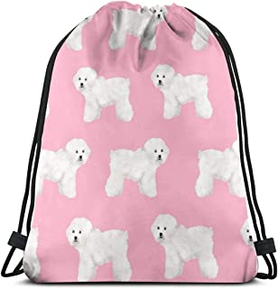 vintage cap Bichon Frise Pink Dog Dog Breeds Bichon Cute Girls Dog Print_387 3D Print Drawstring Backpack Rucksack Shoulder Bags Gym Bag for Adult 16.9'x14'