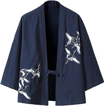 GUOCU Hombre Mujer Camisa Kimono Estilo Japonés Bordado Holgado Casual Cloak Cardigan Delantera Abierta