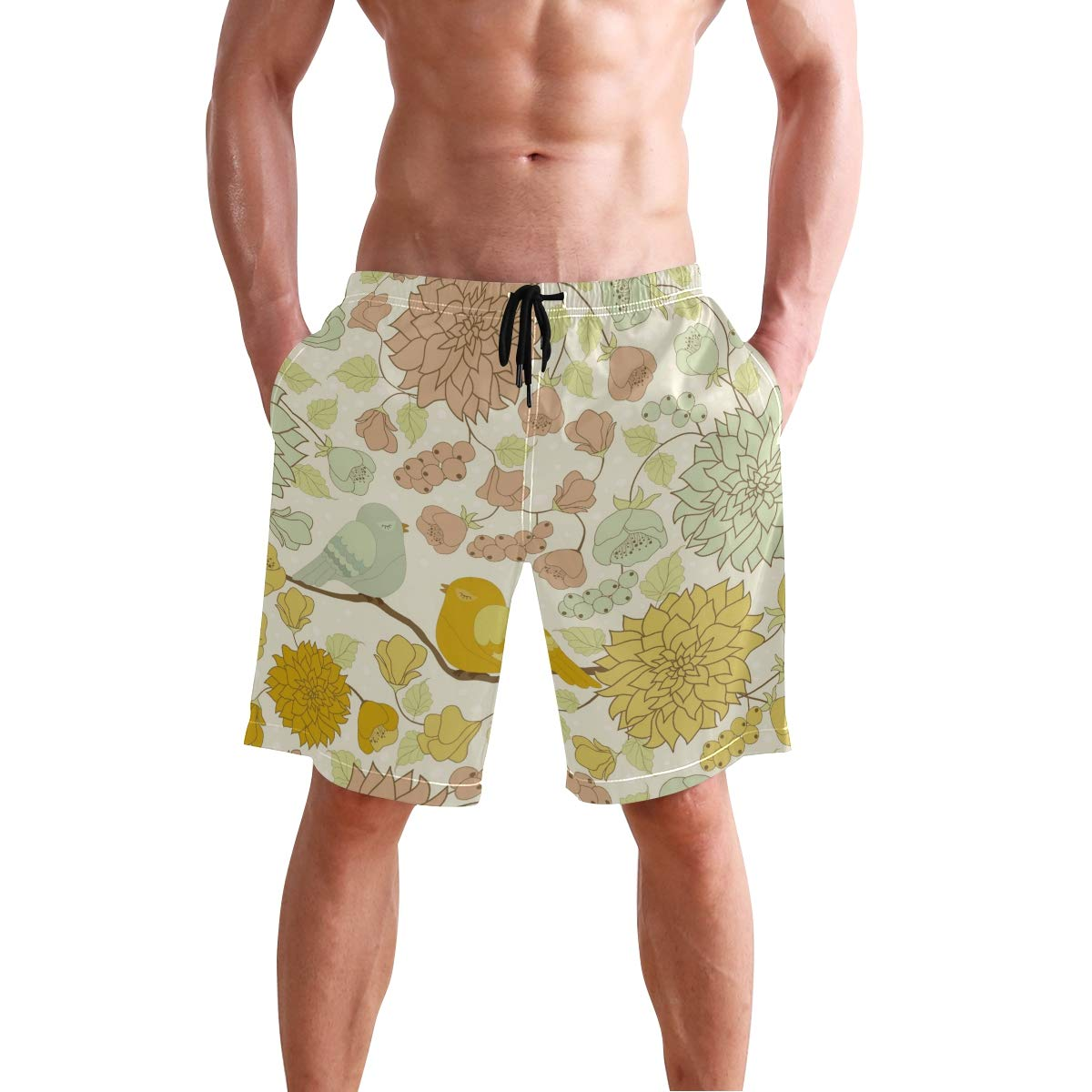 Mens Swim Trunks Bird Flower Quick Dry Beach Board Short with Mesh Lining