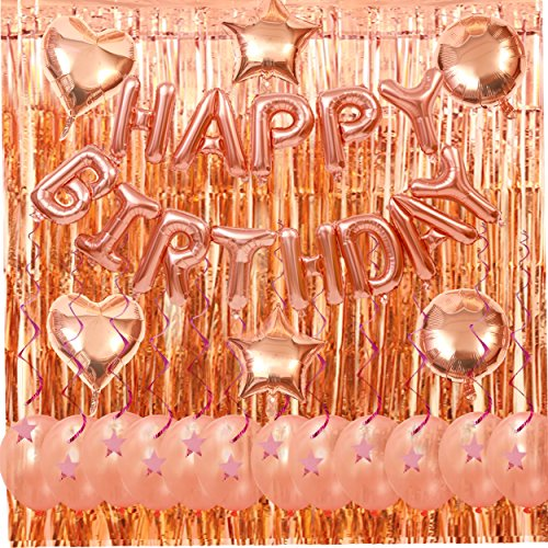 Rose Gold Happy Birthday Decorations Kit- Happy Birthday Foil Balloons Letters Banner,Latex Balloons Metallic Tinsel Foil Fringe Curtains and Plastic Hanging Swirl (Paper Plastic Foil Latex)